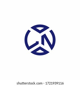 LN monogram logo with abstract shapes in modern style design template