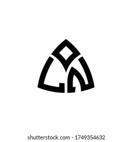 LN monogram logo with modern triangle style design template isolated on white background