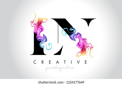 LN Vibrant Creative Leter Logo Design with Colorful Smoke Ink Flowing Vector Illustration.