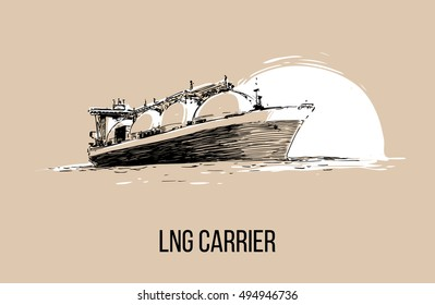 LNG carrier hand drawn illustration