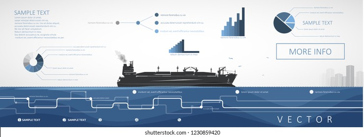 LNG carrier sailing on the sea or ocean, vector infographics.