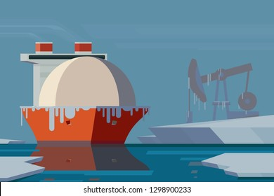 LNG carrier, cryogenic sea vessel in Arctic. Northern offshore drilling. Sea Transport of natural gas from the source to a destination. Vector illustration