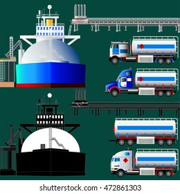 LNG terminal, tankers and trucks. Vector illustration. Flat style. Icon. Isolated on green. Set.