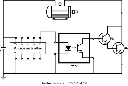 Load controlled by a microcontroller using an opto-coupler and a current amplifier