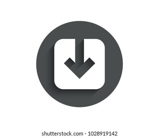 Load document simple icon. Download arrowhead symbol. Direction or pointer sign. Circle flat button with shadow. Vector