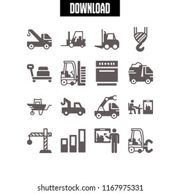 load icon. 16 load vector set. dump truck, wheelbarrow, dishwasher and crane icons for web and design about load theme