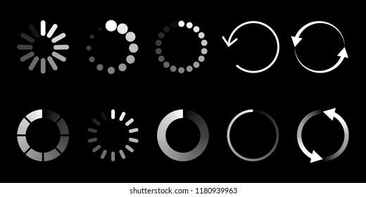 Load icon. Circle website buffer loader or preloader. Vector donload or upload status icon