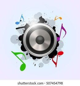 Load speaker illustration on abstract music background, isolated on white