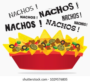 Loaded cheese nacho plate with meat and jalapeno with multiple nacho word text