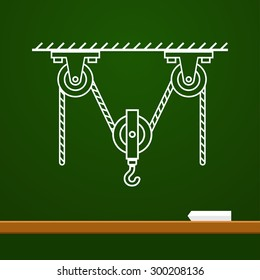 Loaded Movable Pulleys with spring and rope physics drawing on board. School vector illustration. Scientific drawings