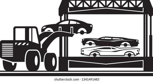 Loader fills car crusher for scrap - vector illustration