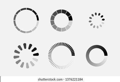 Loader icon vector circle button. Load sign symbol progress bar for upload download round process. Vector illustration.