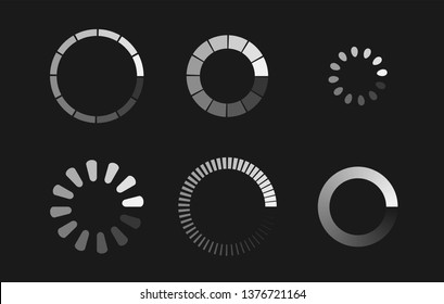 Loader icon vector circle button. Load sign symbol progress bar for upload download round process. Vector illustration.