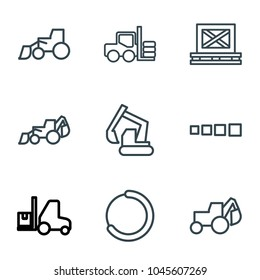 Loader icons. set of 9 editable outline loader icons such as forklift, excavator, cargo on palette