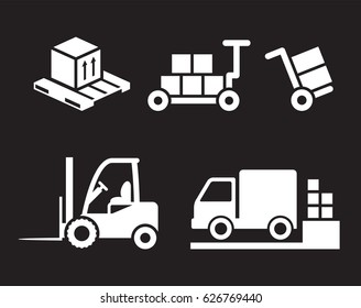 Loader icons set. White on a black background