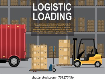The loader loads or unloads the goods pallet in the truck in the warehouse for export or import vector illustration flat
