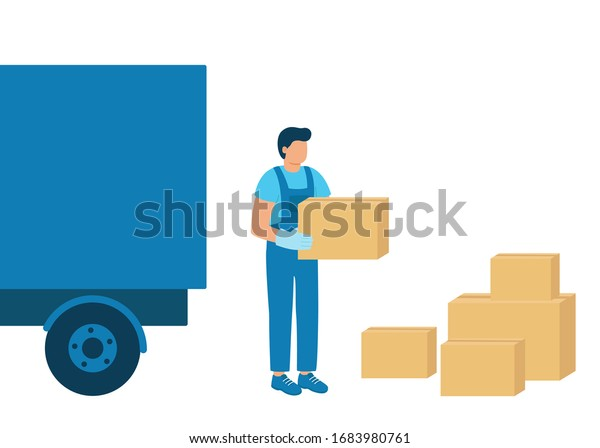 Loader man carries boxes of goods, unloading or loading truck. Work in logistics, shipping. Boxes of goods for import and export. Vector illustration