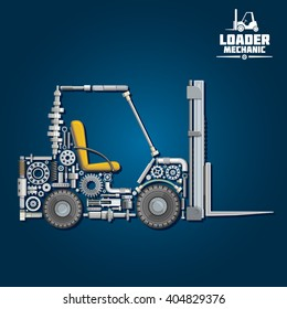 Loader mechanics with forklift truck, composed of fork arms, wheels, seat, gears, ball bearings, hydraulic system parts, lifting chain, pressure hoses, crankshaft, axles, mast and carriage