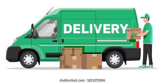 Loader unloads the goods from van. Fast and free delivery service in city. Courier with parcel box. Male mover, paper cardboard boxes with goods. Cargo and logistic. Cartoon flat vector illustration
