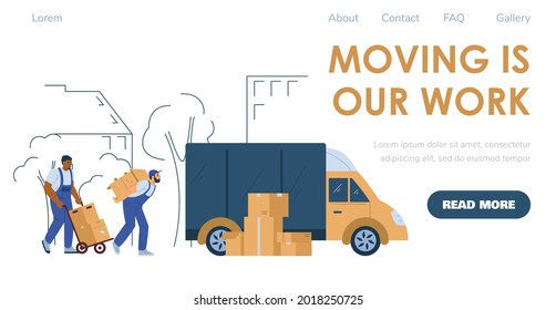 Loaders or porters services for house or office moving and relocation. Advertising web banner or webpage for shipping and delivery company, flat vector illustration.