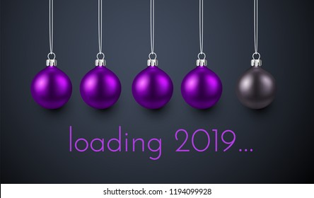 Loading 2019 New Year creative poster with progress bar made of purple Christmas balls. Vector background.
