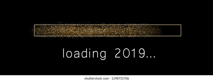 Loading 2019 New Year creative festive banner with golden progress bar. Vector background.