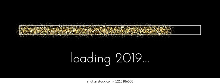 Loading 2019 New Year creative festive poster. Vector background.