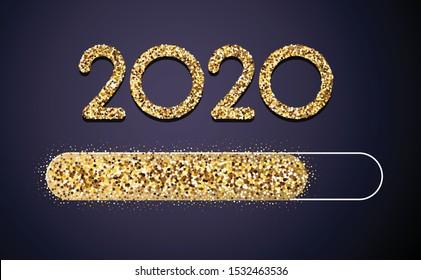 Loading 2020 New Year golden creative festive card with shiny progress bar. Vector background.