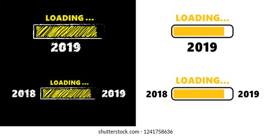 Loading bar 2018 2019. Vector eps banner wallpaper poster template sign signs Happy New Year fun funny celebration party Xmas merry christmas birthday Valentine progress vacation holiday progress bar