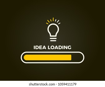 Loading bar almost complete with idea beeing processed on a lightbulb. Vector illustration design