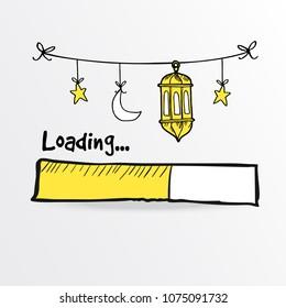 Loading bar with arabic lanterns, moon and star. Vector illustration sketch for holy month Ramadan Kareem.