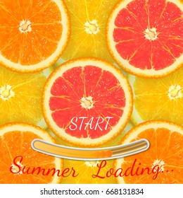 Loading bar with bright sun in the form of an orange, concept of summer and rest, vector illustration