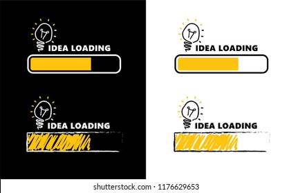Loading bar bulb lamps lamp Idea loading Business Ideas Concept Vector brain bulb light education icon Bright idea Big idea Bulbs Electric Enery fun Funny FAQ FAQs Brilliant Lightbulb Light bulb signs