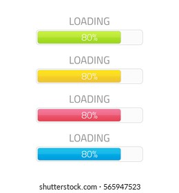 Loading bar element icon set. Vector illustration of download timer different colors.  Progress upload, web design template. Concept of users completion indicator. EPS 10.