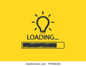 Loading bar up graph with bulb, creativity, big idea, concept, vector illustration sketch draw. Free hand sketch loading idea , light bulbs, symbol of ideas