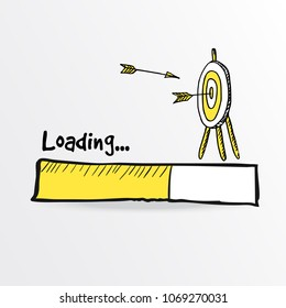 Loading bar. Hand drawn flying arrows hitt in doodle archery target, goal symbol. Success concept. Vector illustration.