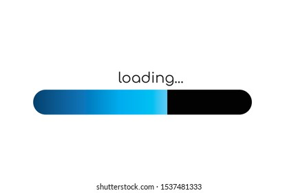 Loading bar on white background with blue  progress indicator, Wait for loading video, Internet with no signal,web design, video editor, game, application design and development
