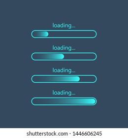Loading bar progress icons, load sign. Vector illustration