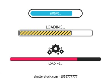 Loading bar. Loading, progress. Set of  load sign. Uploading speed symbol. Update icon. Installation of application or software. Concept of upgrade application progress icon for graphic and web design