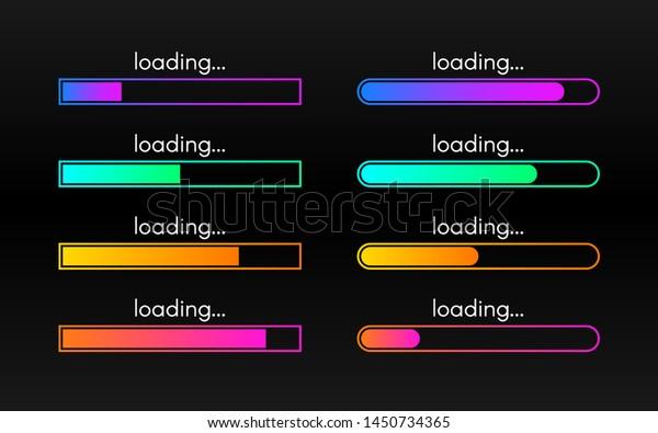 Loading bar set on dark backdrop. Progress visualization. Color gradient lines. Loading status collection. Web design elements on black background. Vector illustration.