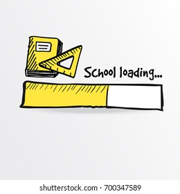 Loading bar with a yellow notebook and ruler. School and education concept, vector illustration sketch.
