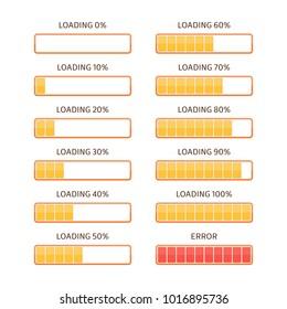 Loading bars elements set. Creative web design download timer or progress upload sign. Users completion indicator. Vector loading bar with steps 0, 10, 20, 30, 40, 50, 60, 70, 80, 90, 100 and error.