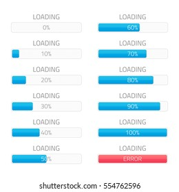 Loading bars elements set. Creative web design download timer or progress upload sign. Users completion indicator. Vector loading bar with steps 0, 10, 20, 30, 40, 50, 60, 70, 80, 90, 100 and error.