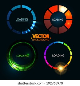 Loading And Buffering Icon Set. Preloaders. Vector illustration