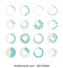 Loading and buffering icon set. Vector illustration