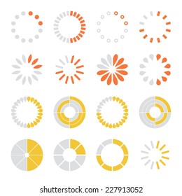 Loading and buffering icons set. Vector illustration
