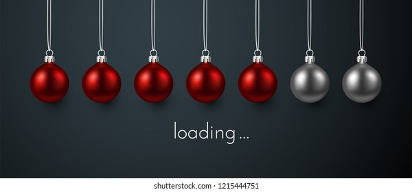 Loading Christmas or New Year festive poster with progress indicator made of red Christmas balls. Vector background.