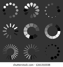 Loading circle icon set. Vector illustration, flat design.