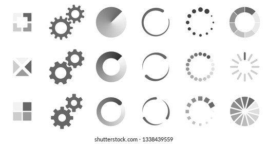 Loading circular progress bars (set of 18 different vector elements). Templates for animation. Gradient color change during rotation. Shows process of application loading. Download or upload symbol.