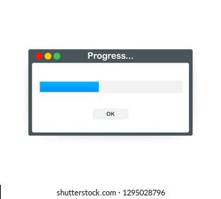 Loading data window with progress bar on white background. Vector stock illustration